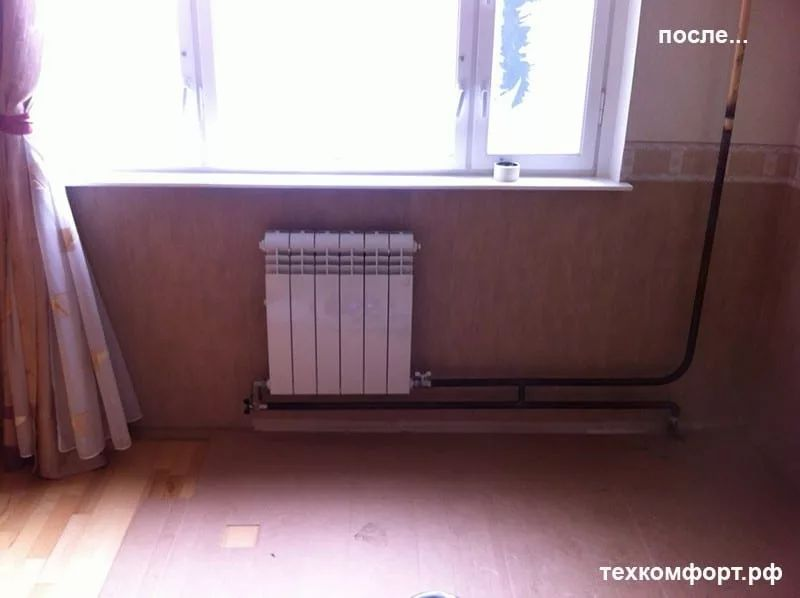 неаккуратно выполненный монтаж радиаторов 11