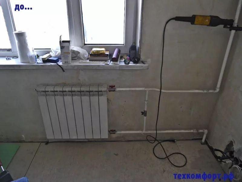 неаккуратно выполненный монтаж радиаторов 18