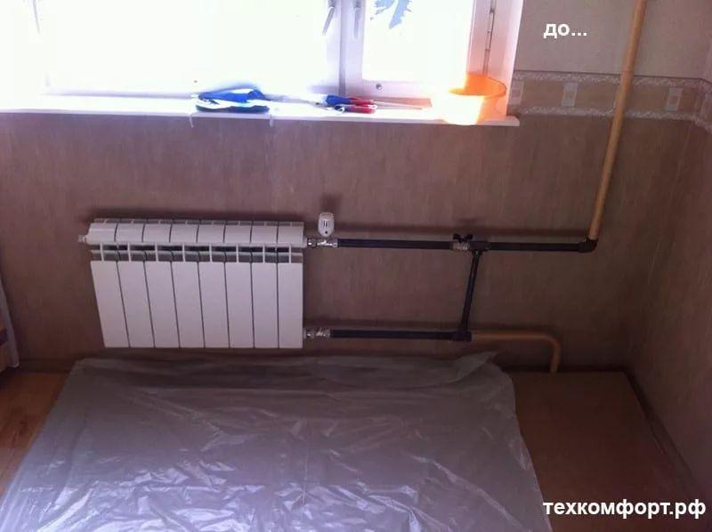 неаккуратно выполненный монтаж радиаторов 12